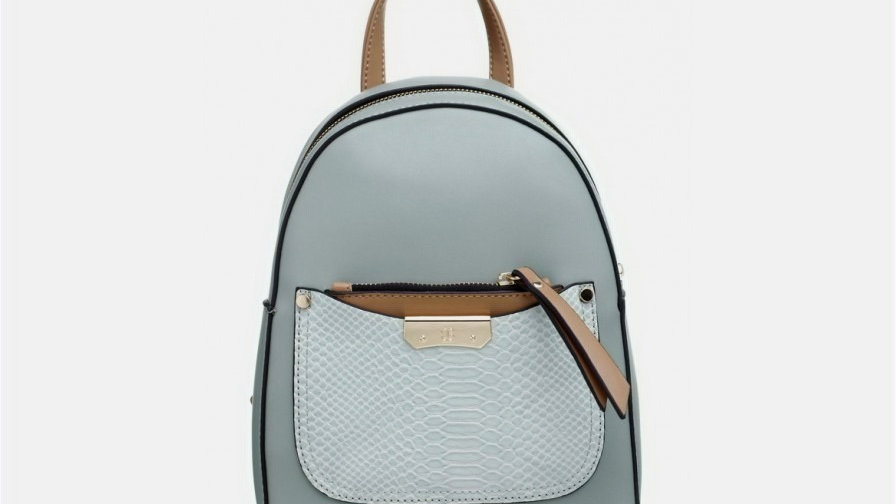 Bessie London Light Green Small Croc Print Front Pocket Backpack