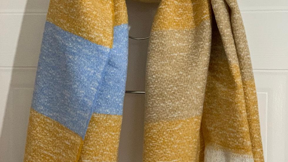 Super Soft Mustard, Beige & Blue Blanket Scarf