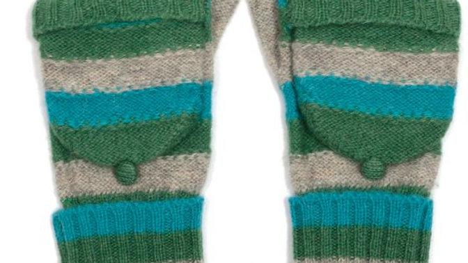 Multi Colour Stripe Woollen Fingerless Gloves with Mitten Cover