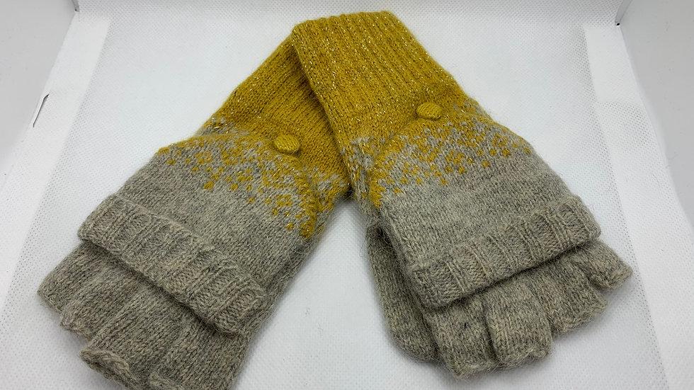 Two Tone Mustard & Grey Woollen Fingerless Gloves with Mitten Cover