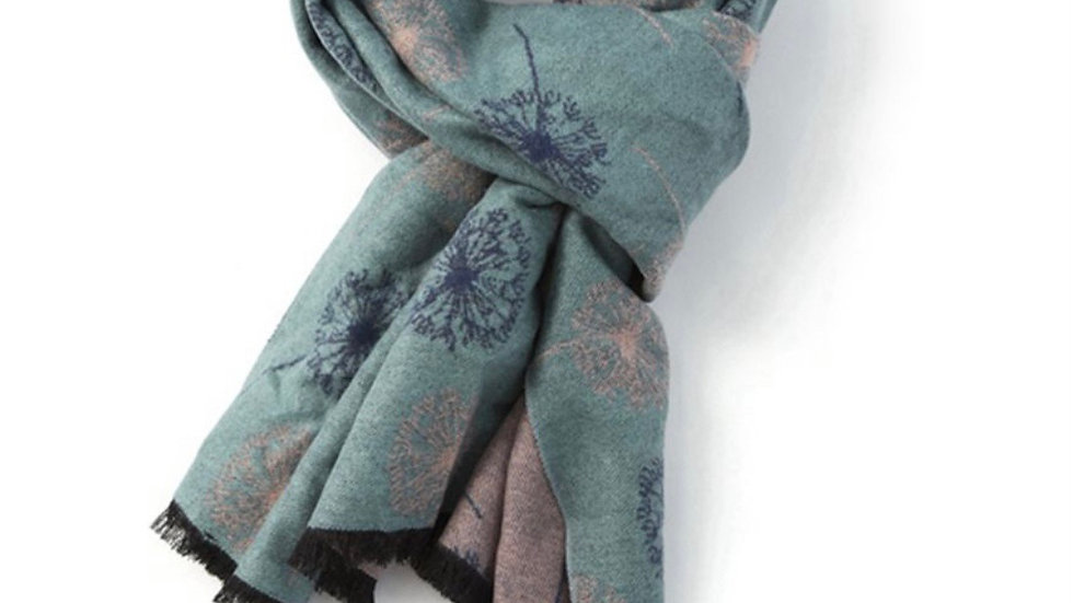 Teal and Blue Terry Dandelion Print Thick Scarf