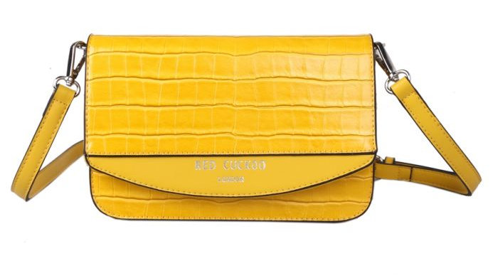 Red Cuckoo Yellow Croc Effect Cross Body Bag
