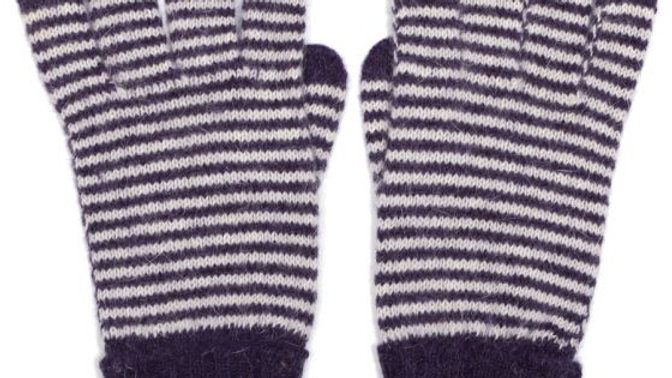 Purple Stripe Woollen Gloves