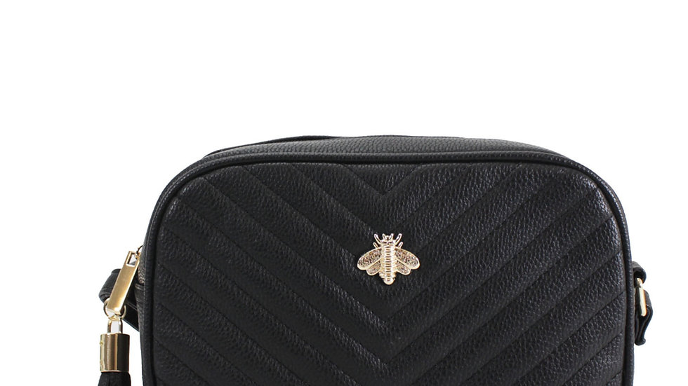 Black Quilted Camera Style Bee Embellished Crossbody