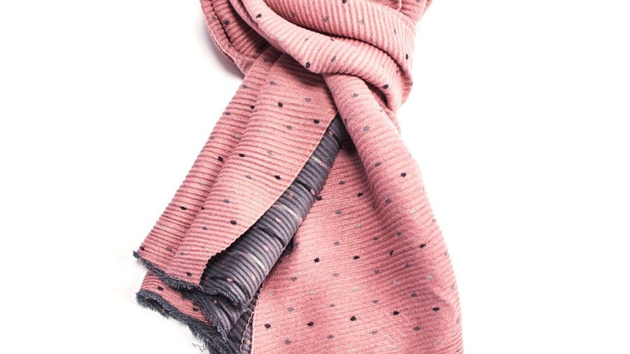 Pink & Grey Pleated Tiny Dots Scarf