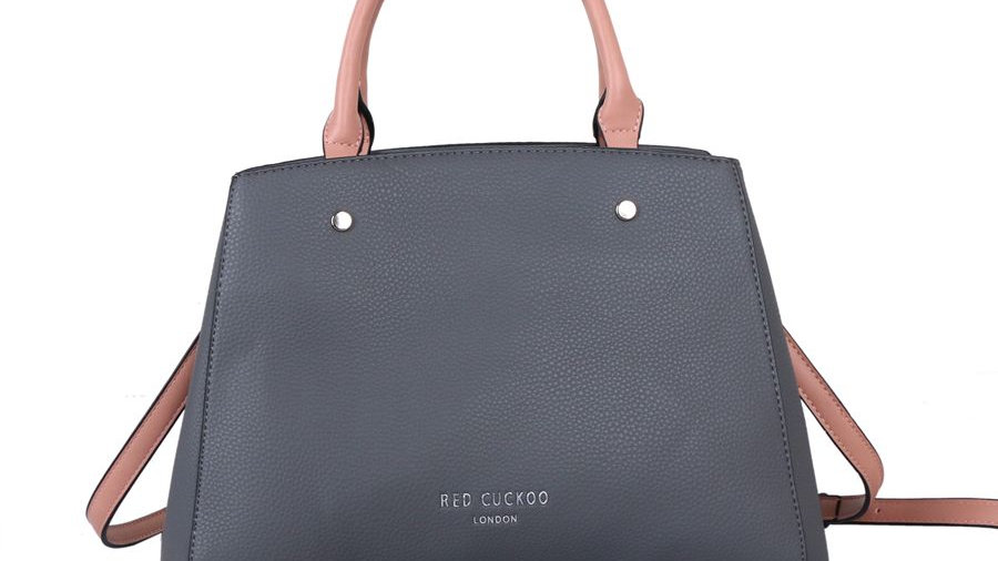 Red Cuckoo Grey Tote with Contrast Straps