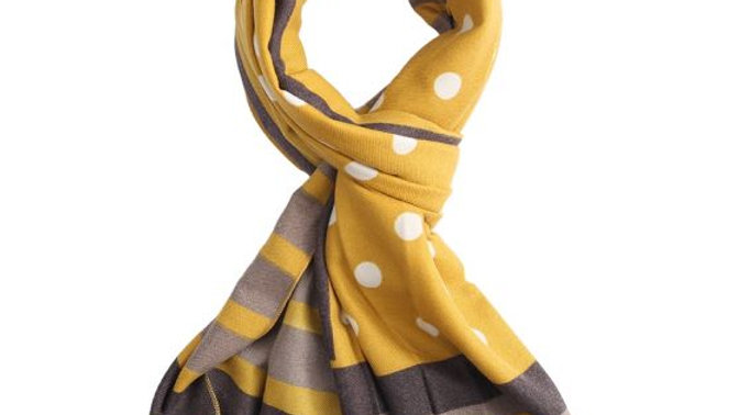 Mustard with White Dots Scarf
