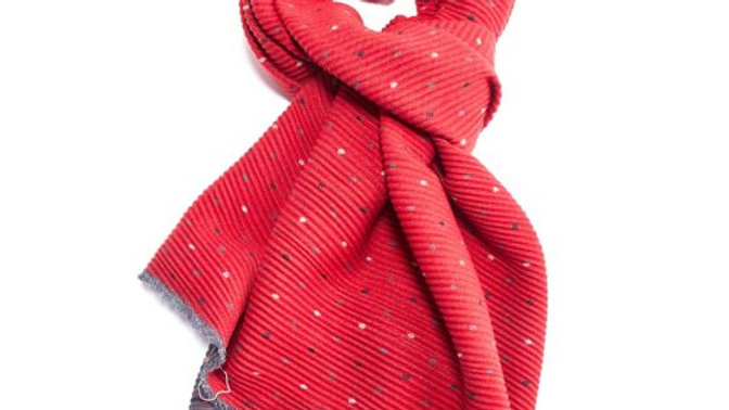 Red & Grey Pleated Tiny Dots Scarf