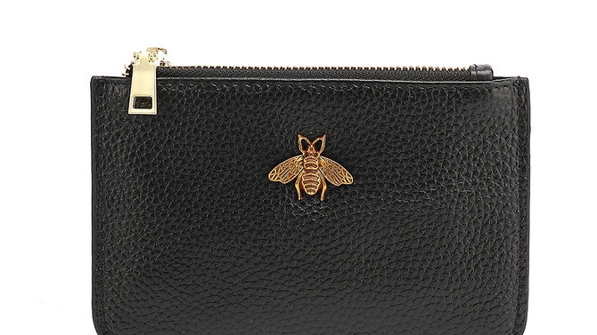 Black Leather Bee Coin Purse