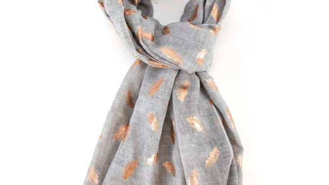 Light Grey & Rose Gold Feathers Scarf