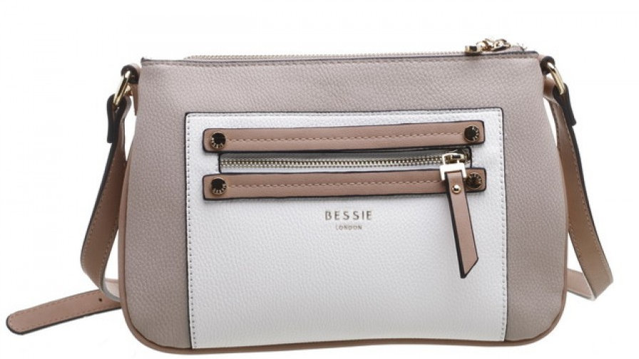 Bessie London Double Zip Pocket Three Tone Cross Body