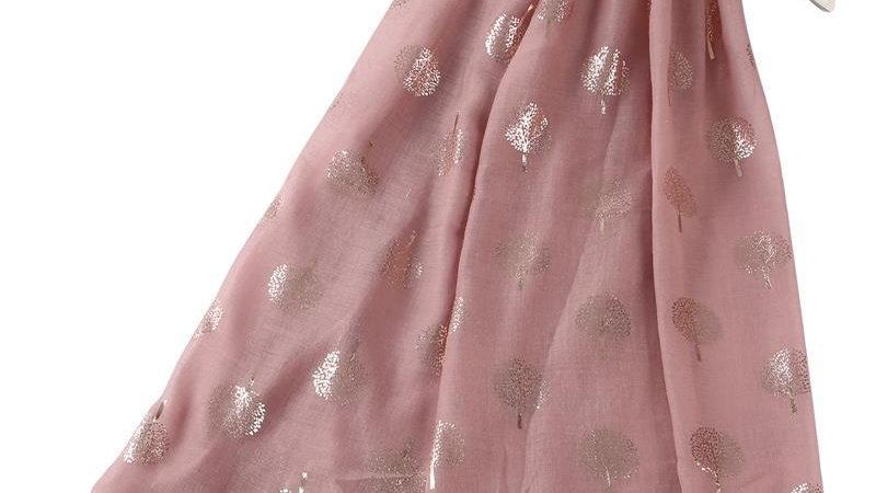 Dusky Pink with Rose Gold Tree Print Scarf
