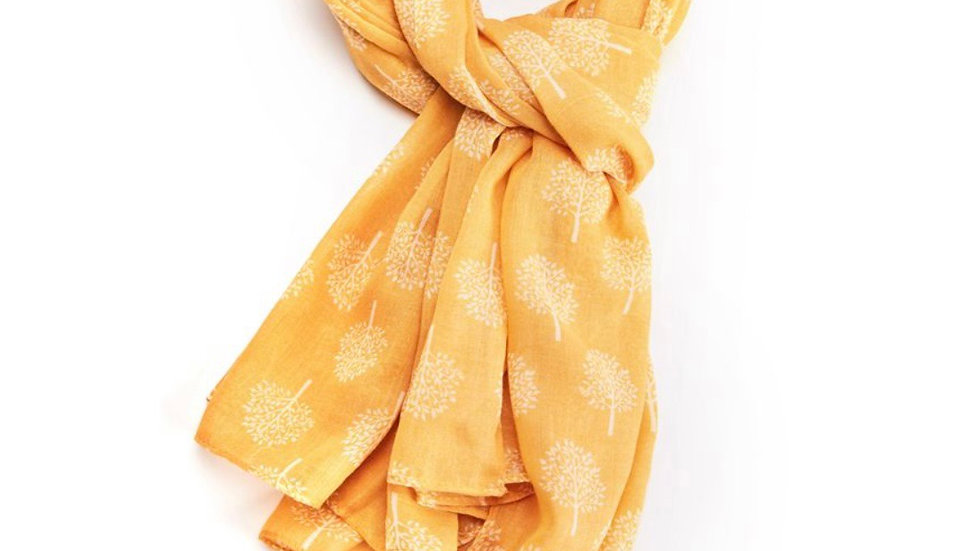 Mustard with White Mulberry Tree Scarf