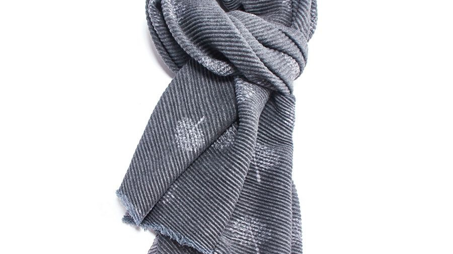 Charcoal Pleated Tree Scarf