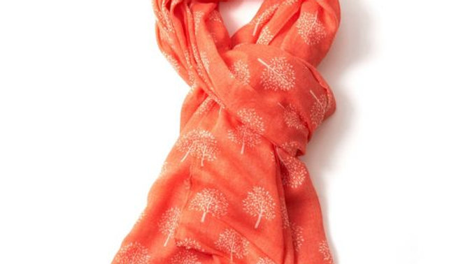 Coral with White Mulberry Tree Scarf