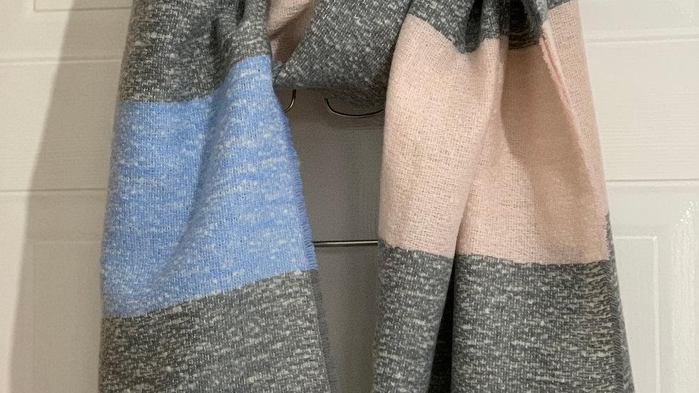 Super Soft Blue, Pink & Grey Blanket Scarf
