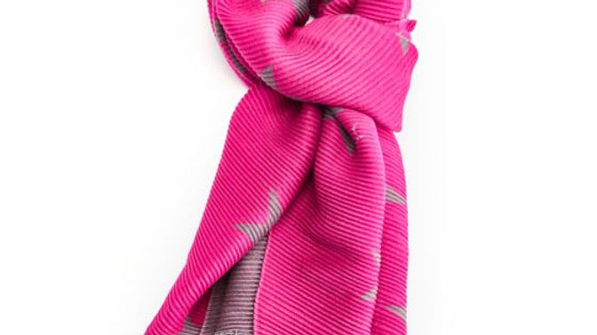Bright Pink and Grey Pleated Star Scarf