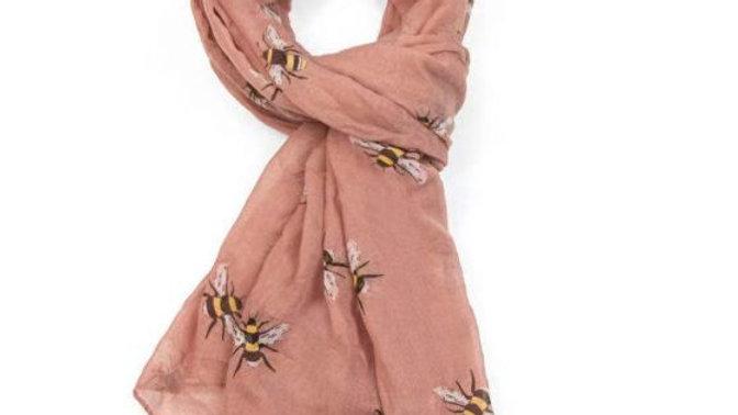 Pink Bee Print Scarf