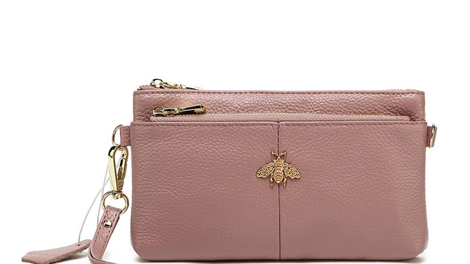 Pink Leather Double Zip Bee Purse