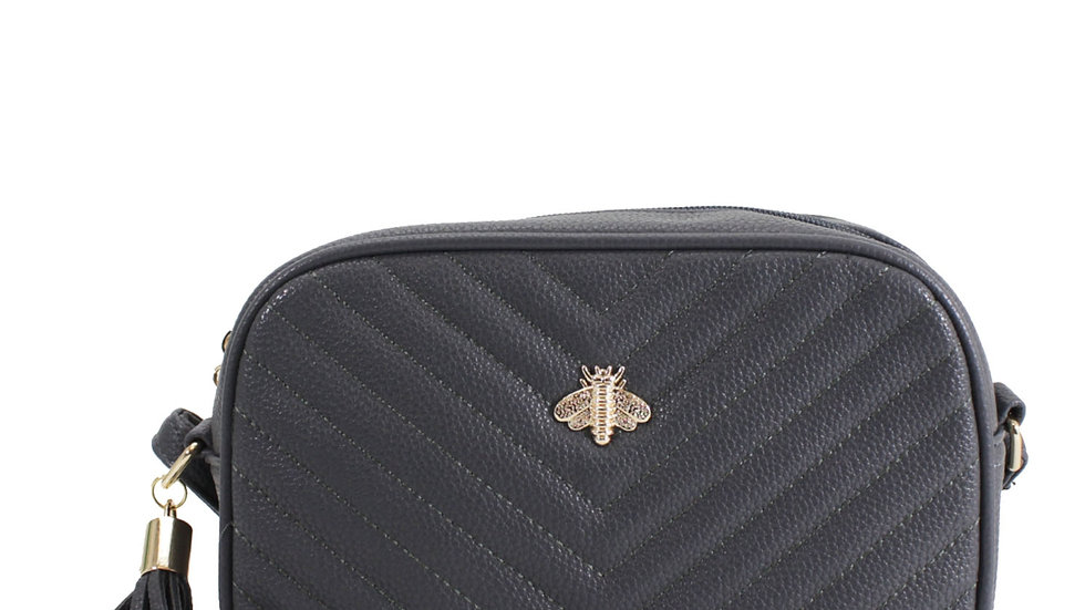 Grey Quilted Camera Style Bee Embellished Crossbody