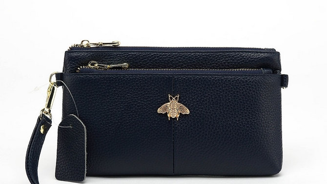 Navy Leather Double Zip Bee Purse