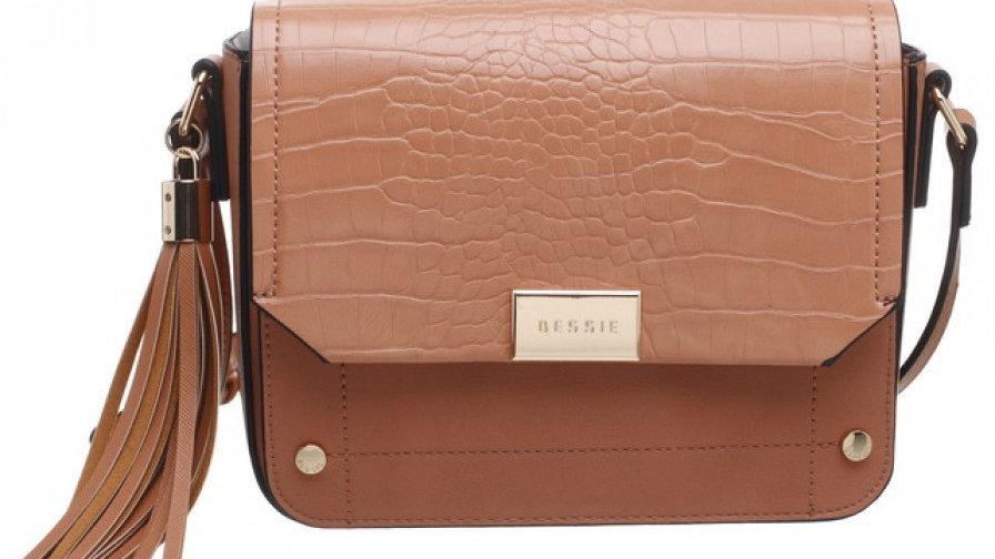 Bessie London Peach Croc Flap-over Evening Bag