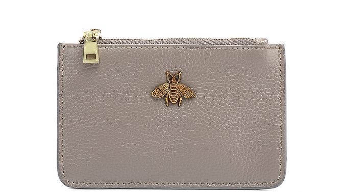 Grey Leather Bee Coin Purse