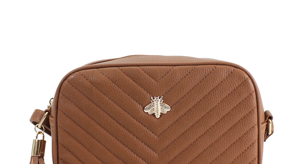 Tan Quilted Camera Style Bee Embellished Crossbody