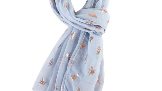 Blue & Rose Gold Bees Scarf