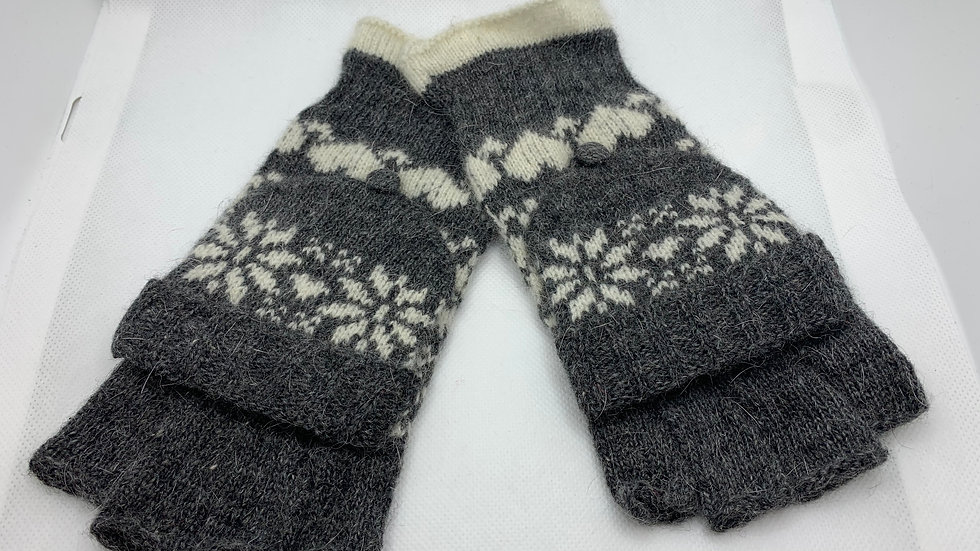 Grey and White Snowflake Woollen Fingerless Gloves with Mitten Cover