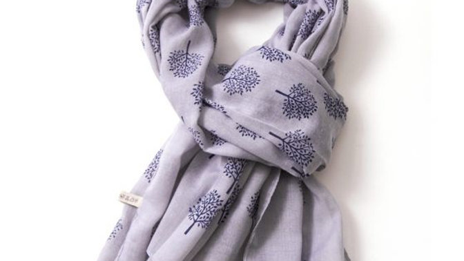 Grey with Navy Mulberry Tree Scarf