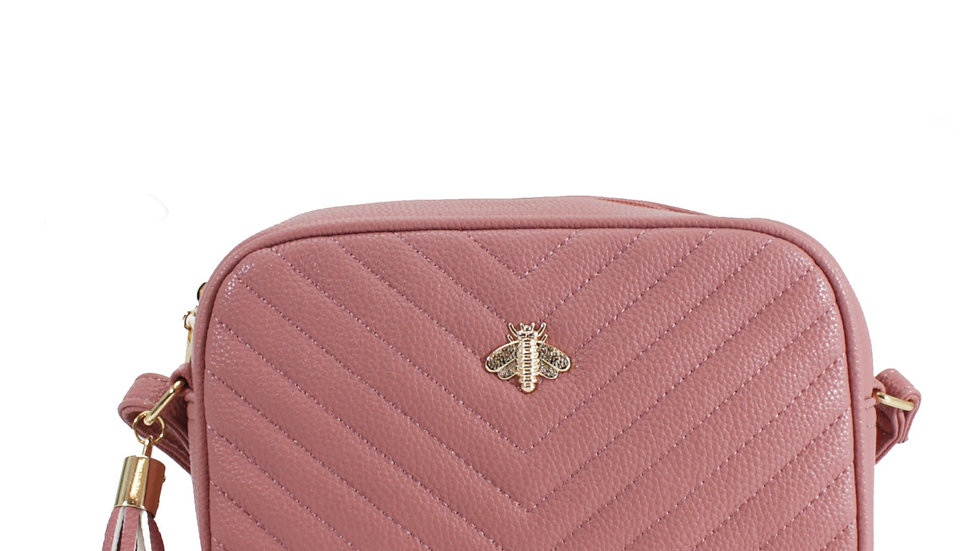 Pink Quilted Camera Style Bee Embellished Crossbody