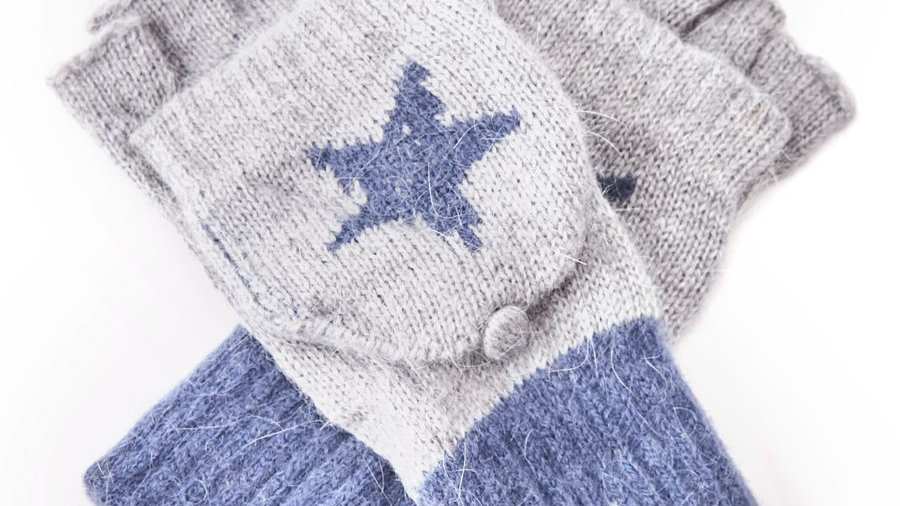 Two Tone Blue Star Woollen Fingerless Gloves with Mitten Cover