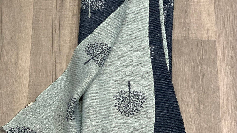 Two Tone Blue Pleated Thick Mulberry Tree Scarf