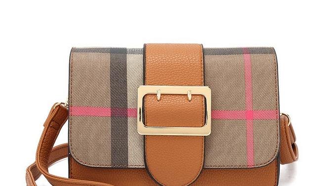 Tan Checked Crossbody Bag