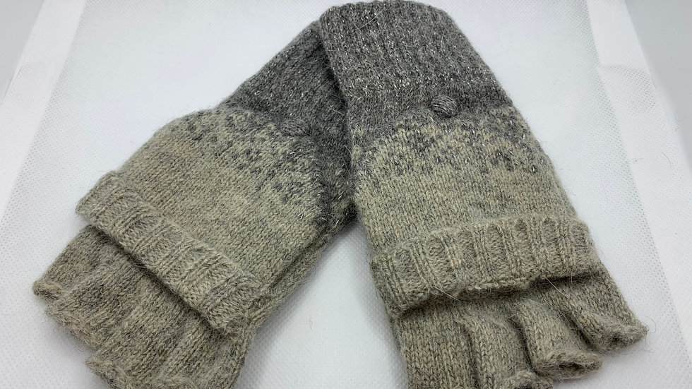 Two Tone Grey Woollen Fingerless Gloves with Mitten Cover