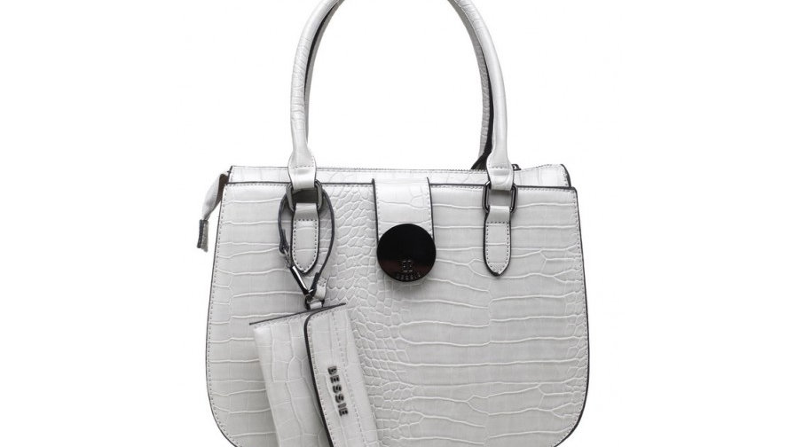 Bessie London Grey Croc Print Tote with Detachable Card Holder