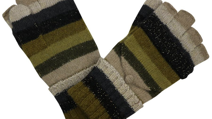 Multi Colour Stripe Woollen Fingerless Gloves with Mitten Cover