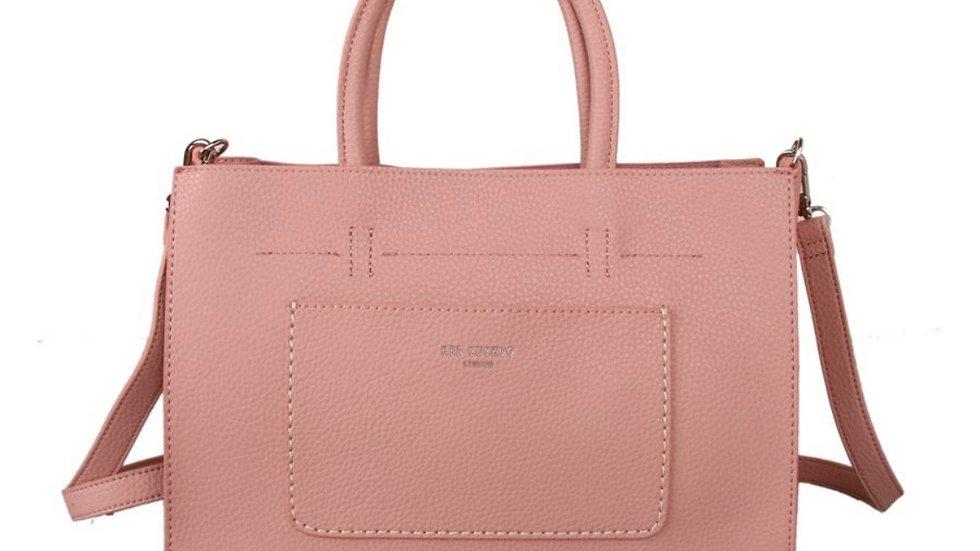 Pink Front Pocket Tote Bag