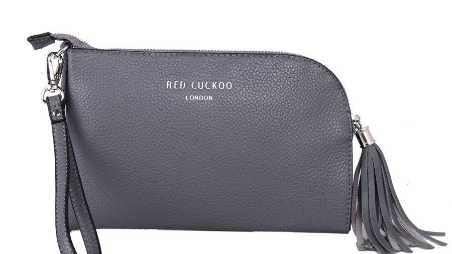 Red Cuckoo Grey Tassel Zip Top Fastening Wristlet Purse