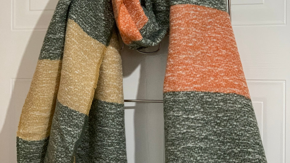 Super Soft Coral, Beige & Grey Blanket Scarf