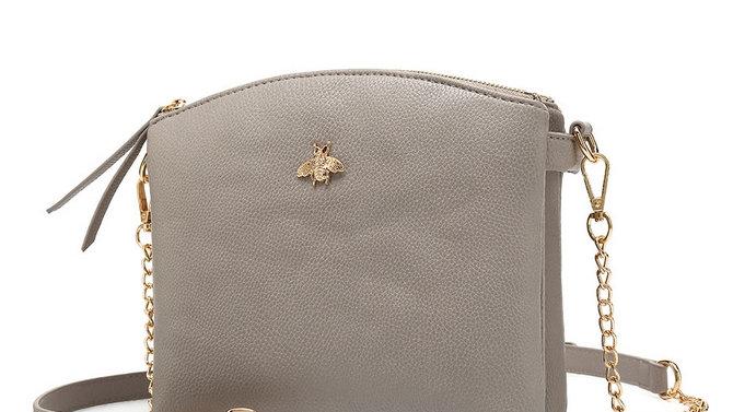 Bee Embellished Light Grey Crossbody