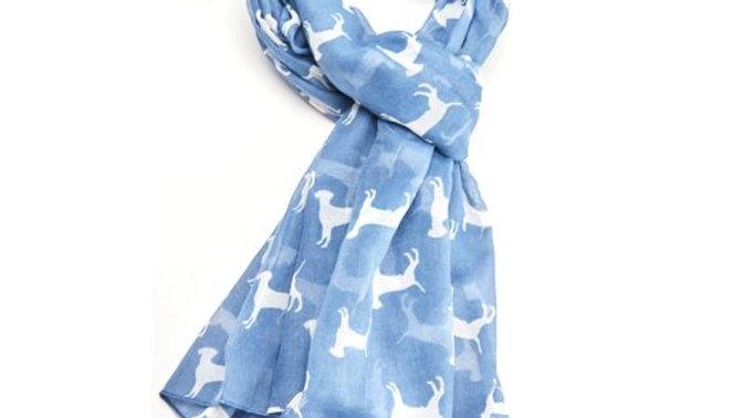 Blue Dog Print Scarf