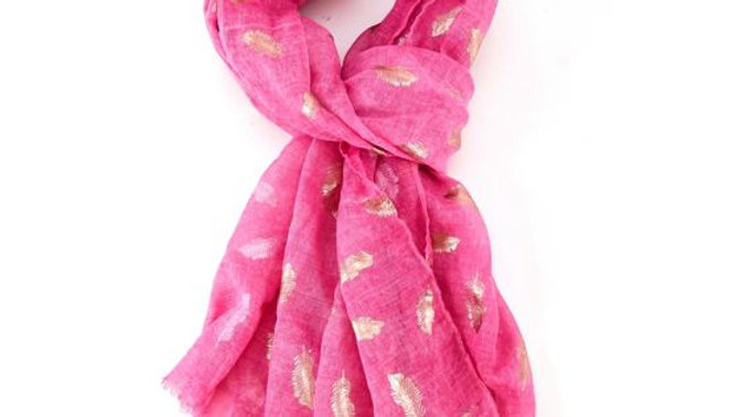 Hot Pink & Rose Gold Feathers Scarf