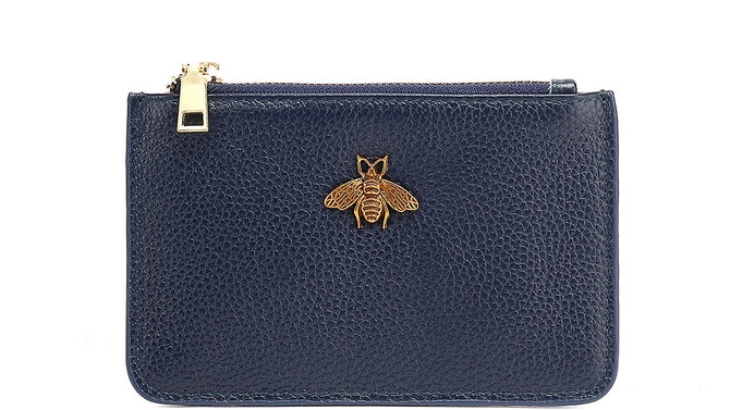 Navy Leather Bee Coin Purse
