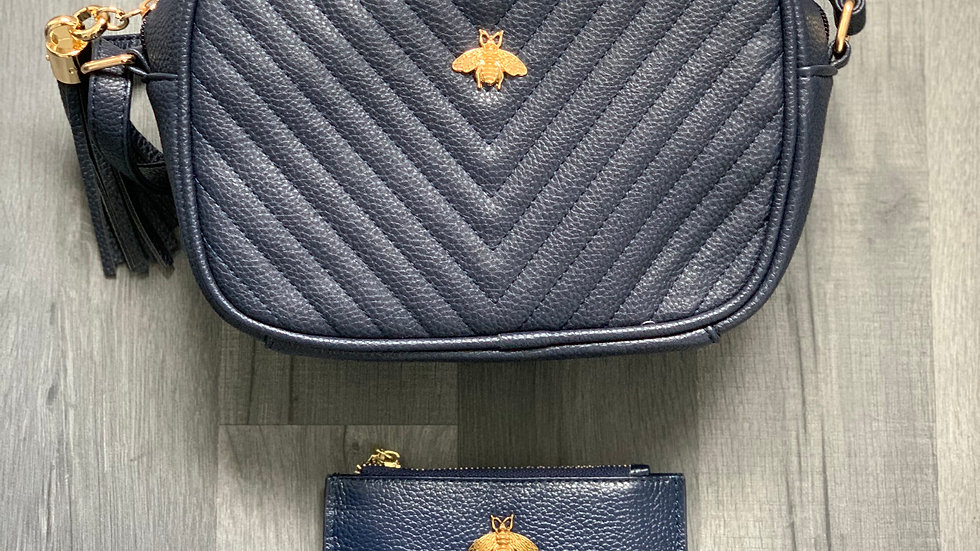 Navy Quilted Bee Crossbody with Leather Bee Coin Purse
