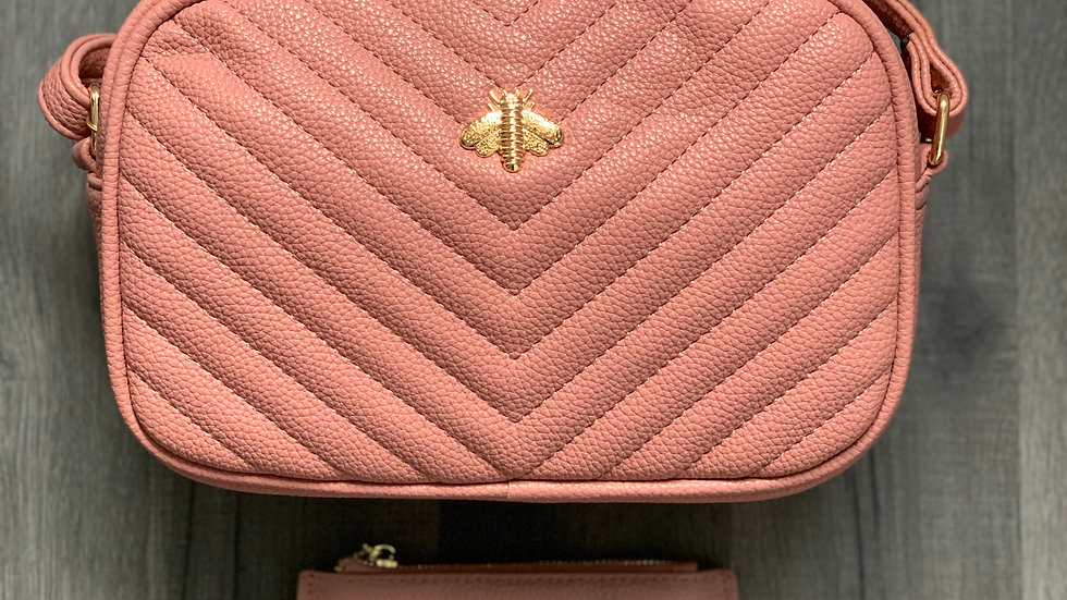 Pink Quilted Bee Crossbody with Leather Bee Coin Purse