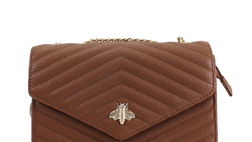 Tan Quilted Bee Embellished Crossbody with Chain Strap