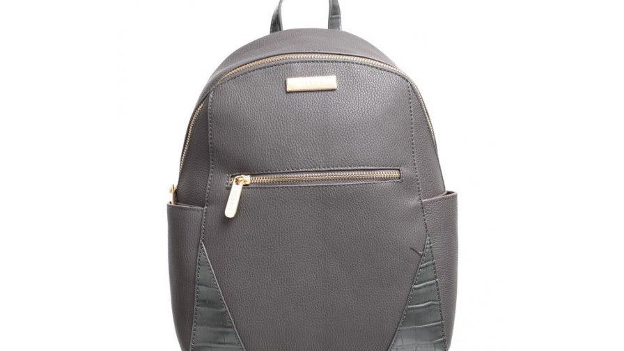 Bessie London Grey Croc Print Backpack