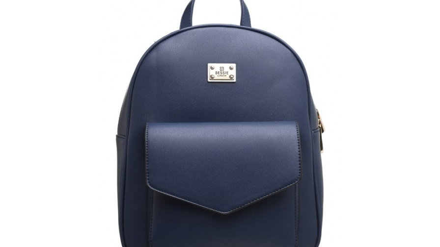Bessie London Navy Classic Flap Top Front Pocket Backpack
